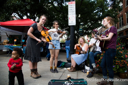 Busking at the Market Square Farmers' Market, Knoxville, October 2014