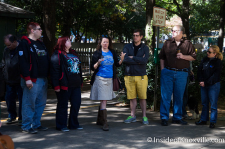 Karen Storts-Brinks, Metro Pulse Protest and Rally, Krutch Park, Knoxville, October 2014