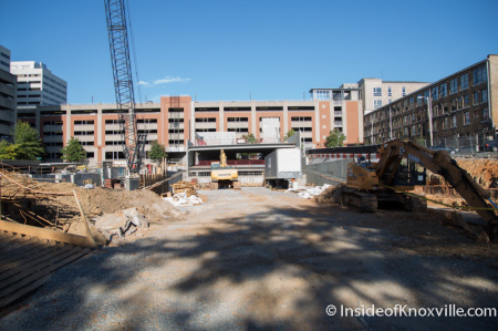 Parking Garage construction, Locust and Walnut at Summer Place, Knoxville, October 2014