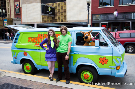 Shaggy (Justin Webb) and Daphne with the Mystery Machine, Zombie Walk, Knoxville, October 2014