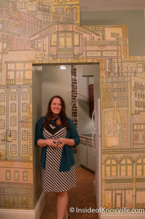 Hali Maltsberger with her art, Open House at 119 S. Central Street, Knoxville, November 2014