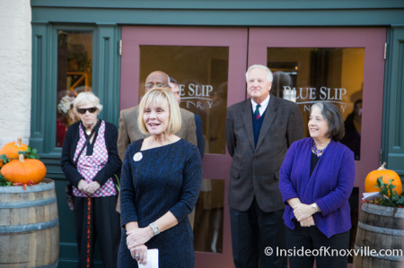 Linn Slocum Addresses the Crowd, Grand Opening of the Blue Slip Winery at the Southern Railway Station, 300 West Depot, Knoxville, November 2014