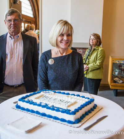 Linn Slocum Prepares to Cut the Cake ,  Grand Opening of the Blue Slip Winery at the Southern Railway Station, 300 West Depot, Knoxville, November 2014