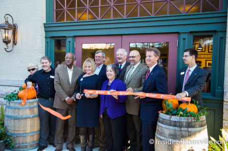 Linn Slocum and Local Dignitaries Cut the Ribbon at the Grand Opening of the Blue Slip Winery at the Southern Railway Station, 300 West Depot, Knoxville, November 2014