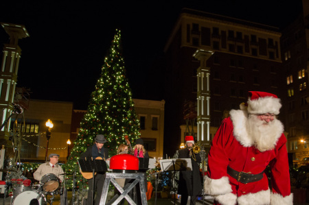 Santa and the Old City Buskers, Celebration of Lights, Knoxville, November 2014