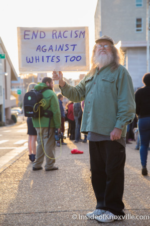 Counter-Protester, First Ferguson Rally and March, Knoxville, November 2014
