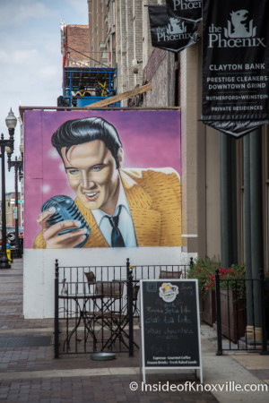 Elvis has watched over Gay Street - in color since the storm knocked down the first  structure.