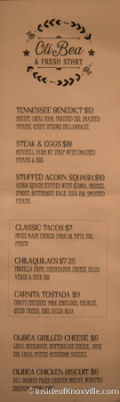 Menu, OliBea, 119 S. Central, Knoxville, December 2014