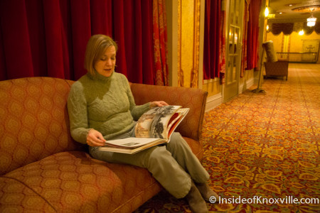 Director Becky Hancock with the new written history of the Tennessee Theatre