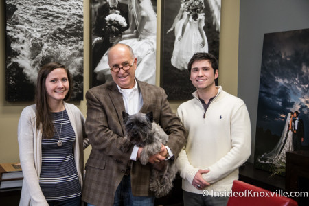 Lindsay Noll, Bill Waldorf (with Roscoe) and Grant Waldorf, Waldorf Photographic Art, 603 W. Main Street, Knoxville, January 2015