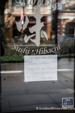 Shono's Closing, Market Square, Knoxville, January 2015