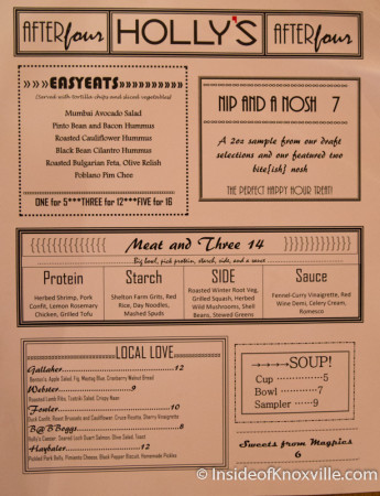 Dinner Menu, Holly's 135, 135 S. Gay Street, Knoxville, February 2015