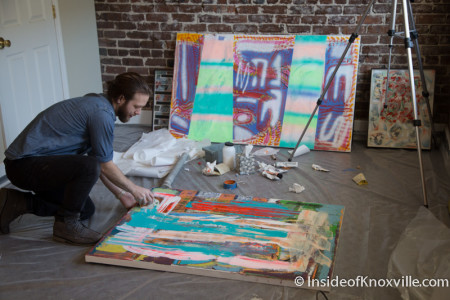 Zach Searcy at work, 317 N. Gay Street, Knoxville, January 2015