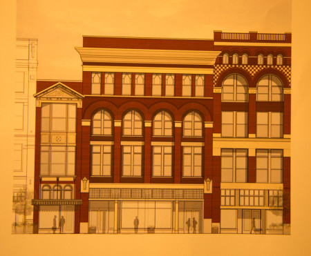 Architectural rendering of the finished building