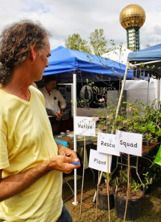 Gerry Moll looks over his Native Plant Rescue Squad display
