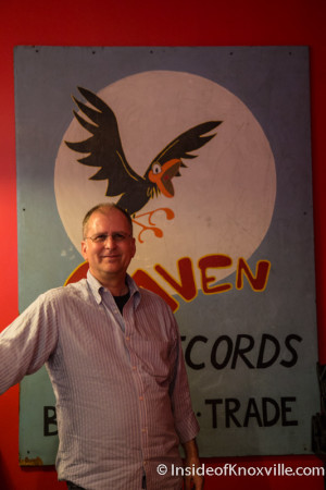 Jay Nations with the Original Raven Records Sign, Empire Deli, Knoxville, April 2015
