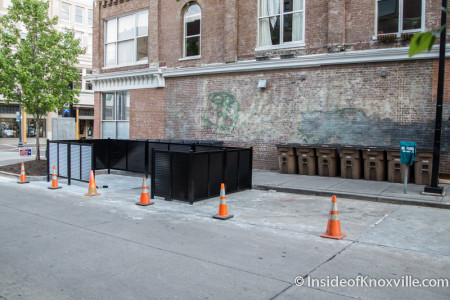 Garbage Can Corral, Wall Avenue, Knoxville, May 2015
