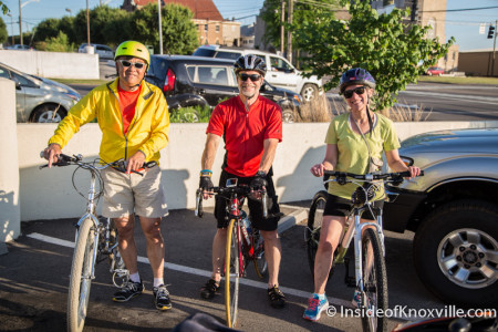 Instructor Jay Snyder with Rick Fung and Lee Ensign, I  Bike Knx Urban Biking Class, Knoxville, May 2015