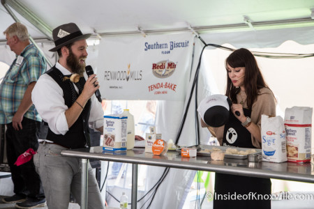 Brent Thompson keeps the Baking Contest Moving Along, International Biscuit Festival, Knoxville, May 2015