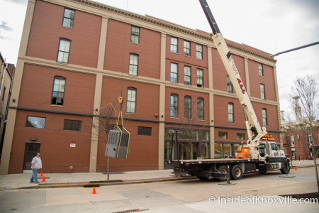 Removal of the Freezer from 36 Market Square after the closure of Orange Leaf Yogurt, Knoxville, March 2015