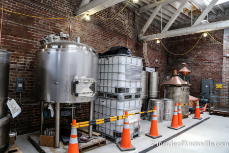 Brewing Equipment Moving into Place at Knox Whiskey Works, Jackson Ave, Knoxville, June 2015