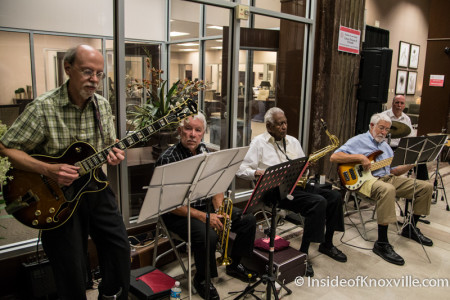 "Jazz Band featuring Lance Owens, Community Design Center ""Meet Me On Main"" party, 501 W. Main, Knoxville, June 2015"