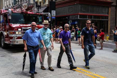 Nick Pavlis, Finbarr Saunders, Bill Lyons and Marshall Stair, Pridefest Parade, Gay Street, Knoxville, June 2015