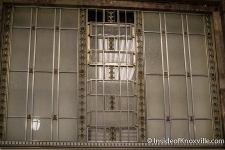 Window inside the Downtown Knoxville Post Office, 501 W. Main, Knoxville, June 2015