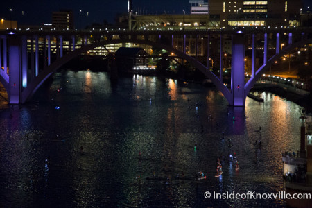 Night Paddle Board Racing, Knoxville, August 2015