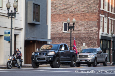 Rebel Flags Parade Through the City, Gay Street, Knoxville, July 2015