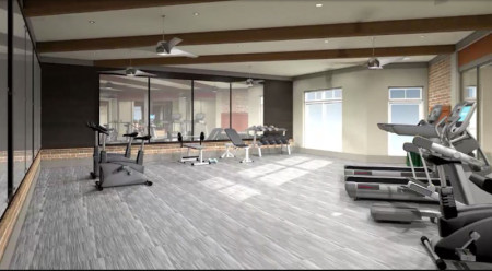 Rendering of Fitness Room, Marble Alley, Knoxville, August 2015