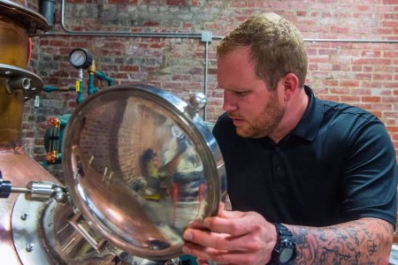 Ryan Catlett, Head Distiller, Knox Whiskey Works, 516 West Jackson Avenue, Knoxville, August 2015 (Photograph Courtesy of Bill Foster Photos)