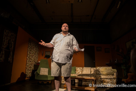 "Doug James introduces ""Sealed for Freshness,"" Theatre Knoxville Downtown, 319 N. Gay Street, Knoxville, July 2015"