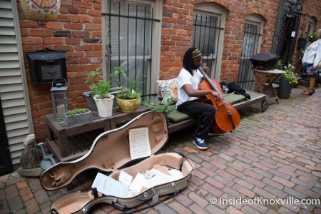 City People Home Tour, Jeremiah plays Cello in the Kendrick Place Courtyard (Mews), Knoxville, May 2015