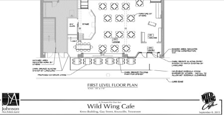 Kress Building, Wild Wing Cafe Plans, 417 S. Gay, Knoxville, September 2015