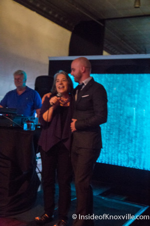 Mayor Rogero and Aaron Thompson, Sapphire Modern Bar and Restaurant, 428 S. Gay, 10th Anniversary Party, Knoxville, September 2015