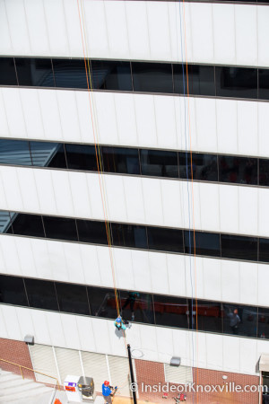 Over the Edge, Rappelling the Langley Bldg for Restoration House, Knoxville, August 2015