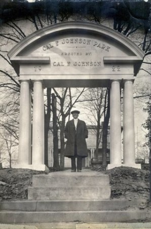 Cal Johnson with the arch he donated to the original Cal Johnson Park