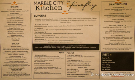 Menu, Marble City Kitchen, Hilton, 501 W. Church Ave., Knoxville, September 2015