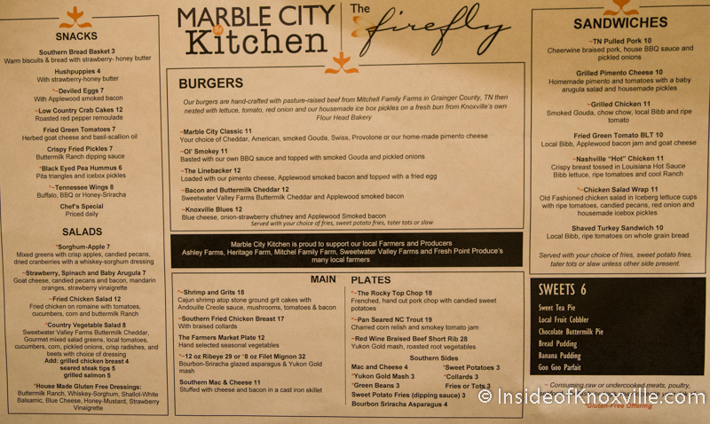 The marble city kitchen and the firefly open at the hilton for Kitchen 919 knoxville tn menu