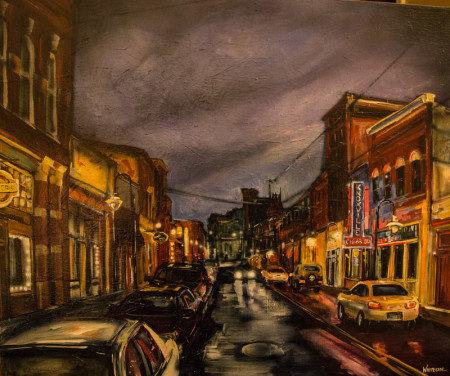 """Smokin' on Central,"" Heather Whiteside, 30X36, Original Acrylic on Linen, $3600"
