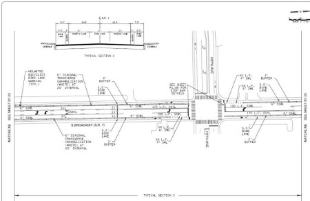 A sample section diagramming proposed changes in Broadway.