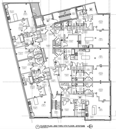 Floor Plans for Floors 2,3 and 4, Residential Units