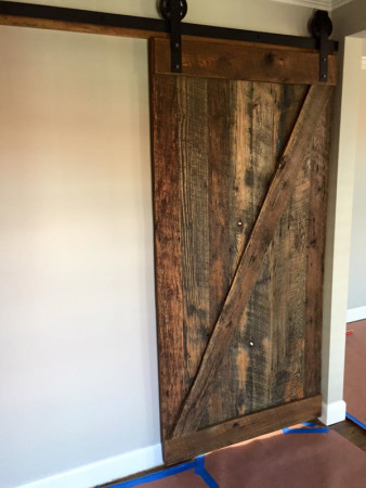 Barn Door Installed in Downtown Home by Smoky Mountain Vintage Lumber, Knoxville, December 2015