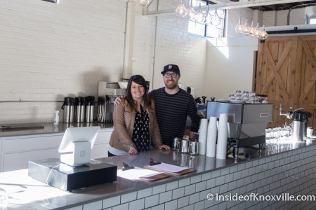 Sean and Sara Alsobrooks, Remedy Coffee, 800 Tyson, Knoxville, December 2015