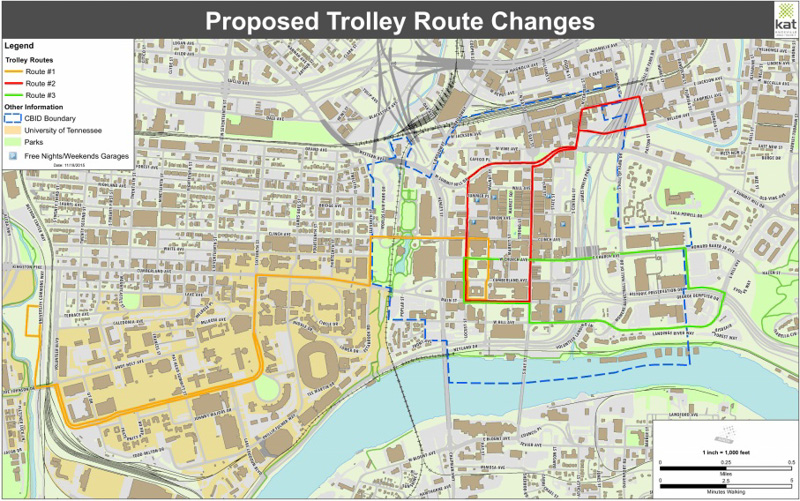 New Trolley Routes Proposed Inside of Knoxville