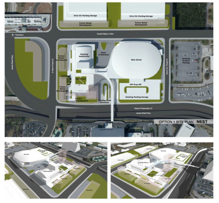Proposed plan retaining the parking garage
