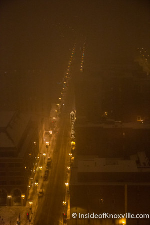 View of Gay Street on a Snowy Night from Club LeConte, Knoxville, January 2016