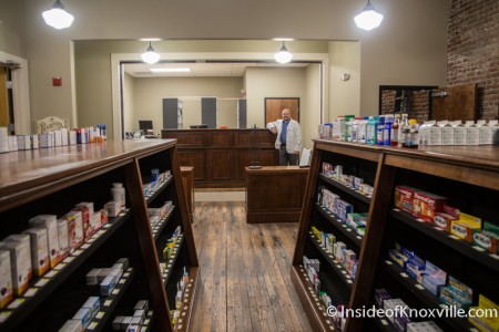 Pharmacist Charlie Southerland, Phoenix Pharmacy, 418 S. Gay Street, Knoxville, February 2016