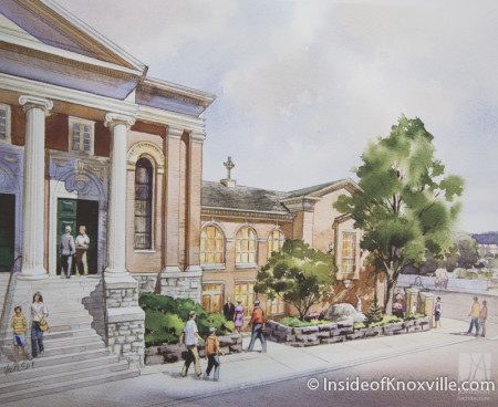 Rendering, First Presbyterian Church, 620 State Street, Knoxville, February 2016